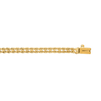 14 Karat Yellow Gold 3.0mm 7 Inch Double Line Rope Chain