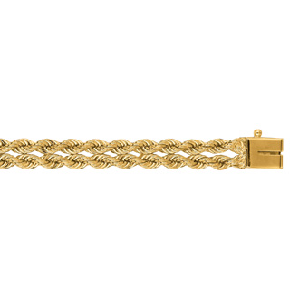14 Karat Yellow Gold 6.0mm 8 Inch Double Line Rope Chain