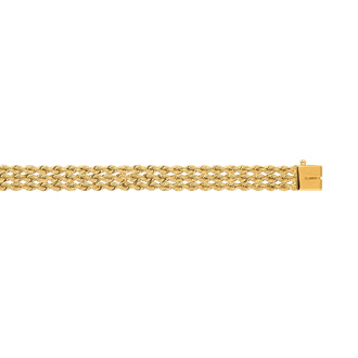 14 Karat Yellow Gold 7.50mm 7 Inch Multi Line Rope Chain