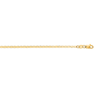 14 Karat Yellow Gold 1.7mm 10 Inch Diamond Cut Mariner Link Chain