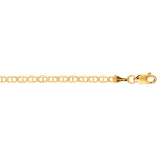14 Karat Yellow Gold 3.20mm 24 Inch Diamond Cut Mariner Link Chain
