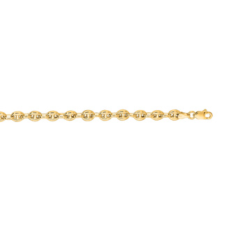 14 Karat Yellow Gold 4.70mm 6 Inch Puffed Mariner Link Chain