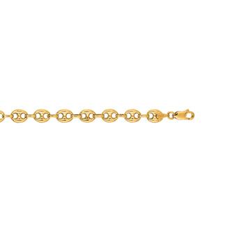 14 Karat Yellow Gold 6.90mm 7 Inch Puffed Mariner Link Chain