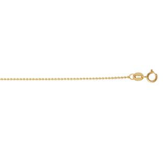 14 Karat Yellow Gold 1.0mm 18 Inch Non Diamond Cut Shiny Bead Chain