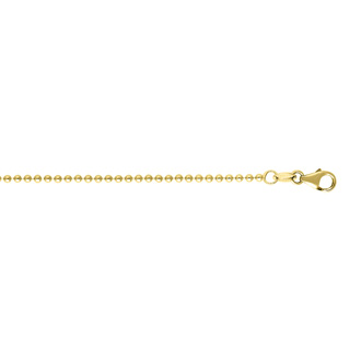 14 Karat Yellow Gold 1.50mm 16 Inch Non Diamond Cut Shiny Bead Chain