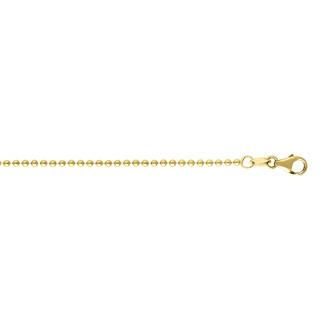 14 Karat Yellow Gold 1.50mm 16 Inch Non Diamond Cut Shiny Bead Chain