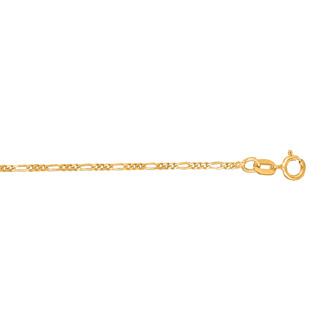 14 Karat Yellow Gold 1.30mm 20 Inch Diamond Cut Classic Figaro Chain
