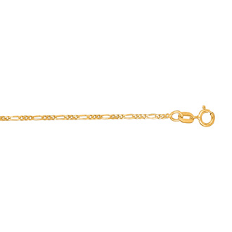 14 Karat Yellow Gold 1.30mm 24 Inch Diamond Cut Classic Figaro Chain