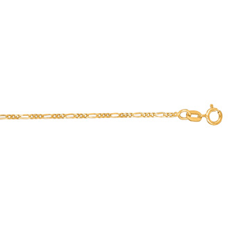 14 Karat Yellow Gold 1.90mm 10 Inch Diamond Cut Classic Figaro Chain