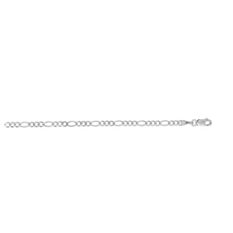 14 Karat White Gold 2.60mm 7 Inch Diamond Cut Classic Figaro Chain