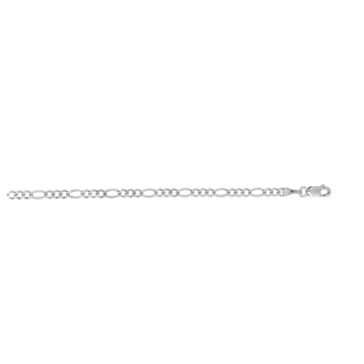 14 Karat White Gold 2.60mm 10 Inch Diamond Cut Classic Figaro Chain