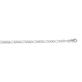 14 Karat White Gold 3.0mm 18 Inch Diamond Cut Classic Figaro Chain