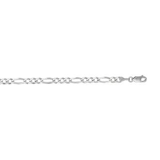14 Karat White Gold 3.80mm 7 Inch Diamond Cut Classic Figaro Chain
