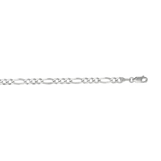 14 Karat White Gold 3.80mm 8 Inch Diamond Cut Classic Figaro Chain