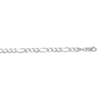 14 Karat White Gold 4.60mm 8 Inch Diamond Cut Classic Figaro Chain