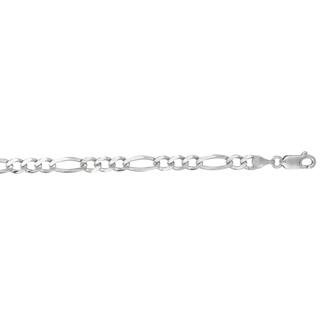 14 Karat White Gold 4.60mm 22 Inch Diamond Cut Classic Figaro Chain
