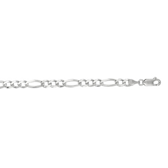 14 Karat White Gold 4.60mm 24 Inch Diamond Cut Classic Figaro Chain