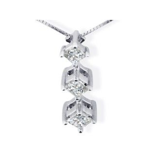 3/4ct Princess Diamond Pendant In 14k White Gold
