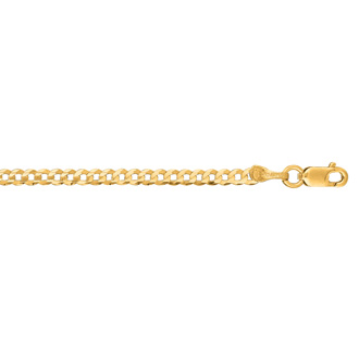14 Karat Yellow Gold 2.60mm 10 Inch Comfort Curb Chain