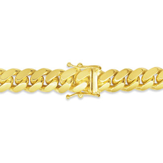 14 Karat Yellow Gold 6.50mm 8.50 Inch Light Miami Cuban Chain Bracelet