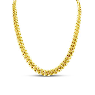 14 Karat Yellow Gold 7.80mm 22 Inch Light Miami Cuban Chain