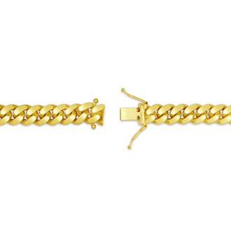 14 Karat Yellow Gold 6.70mm 24 Inch Miami Cuban Chain