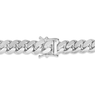 14 Karat White Gold 6.50mm 24 Inch Light Miami Cuban Chain