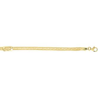 14 Karat Yellow Gold 7.50 Inch Fancy Link Bracelet with Rectangle Buckle
