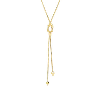 14 Karat Yellow Gold 17 Inch Bead & Knot Lariat Necklace