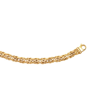 14 Karat Yellow Gold 9.0mm 8 Inch Shiny Byzantine Bracelet