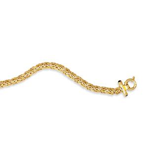 14 Karat Yellow Gold 8.0mm 7.25 Inch Shiny Byzantine Bracelet