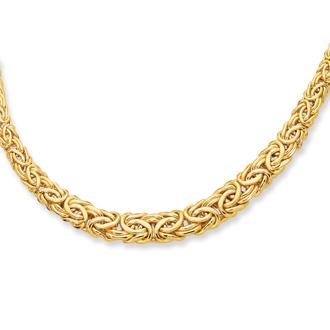 14 Karat Yellow Gold 17 Inch Graduated Byzantine Necklace