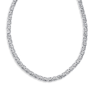 14 Karat White Gold 7.20mm 18 Inch Shiny Byzantine Necklace