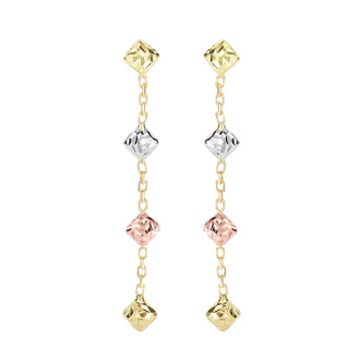 14 Karat Yellow, White, & Rose Gold 1.50 inch Diamond Shaped Beads & Chain Dangle Earrings