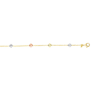 14 Karat Yellow, White, & Rose Gold 7.50 Inch Diamond Shaped Beads & Cable Chain Bracelet