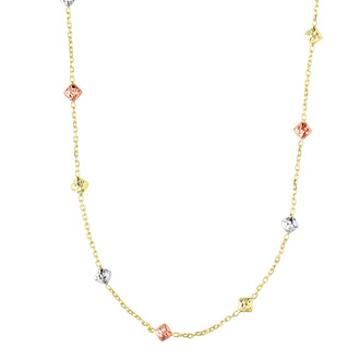 14 Karat Yellow, White, & Rose Gold 18 Inch Diamond Shaped Beads & Cable Chain Necklace