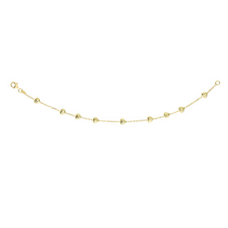 14 Karat Yellow Gold 7.50 Inch Heart & Cable Chain Bracelet