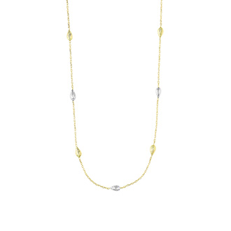 14 Karat Yellow & White Gold 18 Inch Teardrop & Cable Chain Necklace