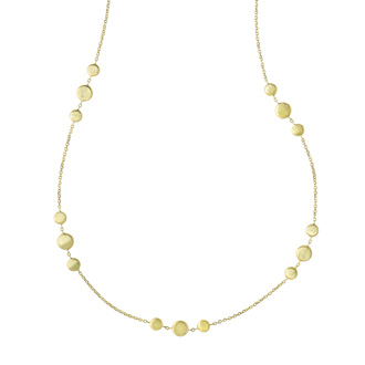 14 Karat Yellow Gold 1.15mm 17 Inch Shiny & Satin Finish Pebble Necklace