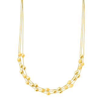14 Karat Yellow Gold 17 Inch Three Strand Shiny & Satin Finish Pebble Necklace