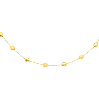 14 Karat Yellow Gold 17 Inch Shiny & Satin Finish Pebble Necklace