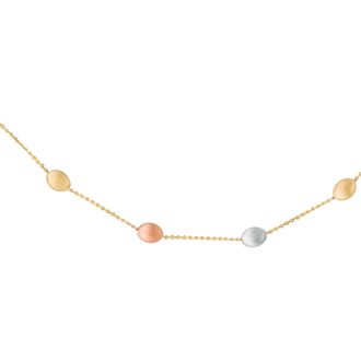 14 Karat Yellow, White & Rose Gold 17 Inch Tri-Color Pebble & Cable Chain Necklace