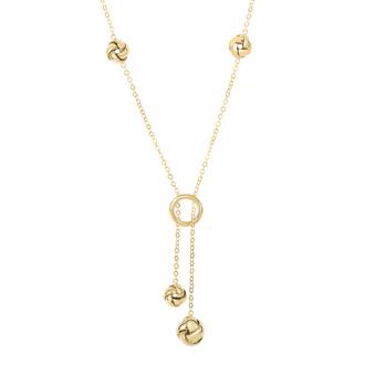 14 Karat Yellow Gold 17 Inch Shiny Loveknot & Open Ring Lariat Necklace