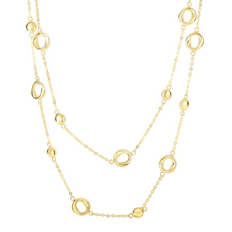 14 Karat Yellow Gold 17 Inch Shiny Circle & Twisted Open Oval Chain Double Strand Necklace