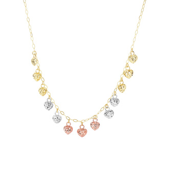 14 Karat Yellow, White & Rose Gold 1.30mm 18 Inch Tri-Color Puffed Heart Necklace