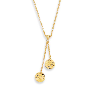 14 Karat Yellow Gold 17 Inch Hammered Disc & Rolo Chain Lariat Necklace