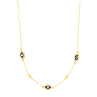 14 Karat Yellow Gold 18 Inch Blue Evil Eye Charm Necklace