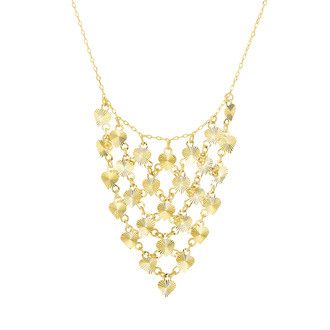 This diamond-cut hearts triangle bib necklace is 17 inches long and 0.88mm wide. It has a secure, spring-ring clasp and is in 14 karat yellow gold.
