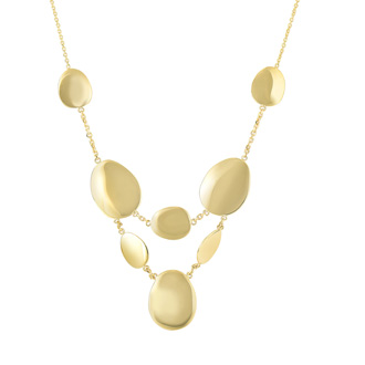 14 Karat Yellow Gold 17 Inch Shiny Rounded Disc Necklace