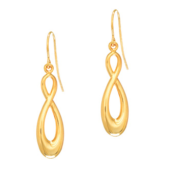 14 Karat Yellow Gold 1.25 Inch Shiny Infinity Drop Earrings